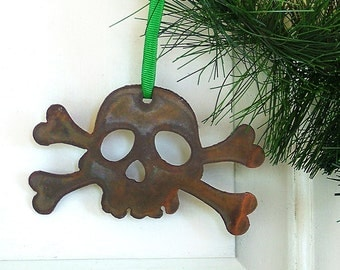 Rustic Jolly Rogers Ornament by WATTO Distinctive Metal Wear/ Pirate /Skull/ Gift for Navy/Christmas Ornament/Gift for Him/Skull & Crossbone