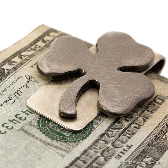 Shamrock Money Clip, Clover Moneyclip, Irish Gifts, Trifoliym, Irish Clover, Fathers Day Gifts, Gift Ideas For Men