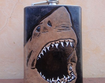 Custom 8 oz Tooled Leather Flask