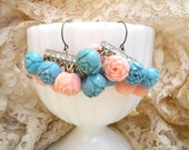 earrings spring celluloid rose assemblage shabby chic pink blue
