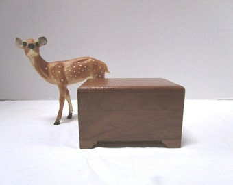 REDUCED Vintage Music Box Handmade Walnut w/ music workings by Sankyo, You Light Up My Life Give Me Hope, Hinged Lid Wooden, Bride
