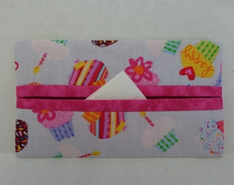 Happy Cupcakes Tissue Cozy/Gift Card Holder/Party Favor/Wedding Favor