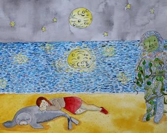 The Dangers of Sleeping on the Beach art illustration original animal person creature