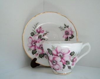 Vintage Serving Marlborough Bone China Teacup and Saucer Made in England Flowers