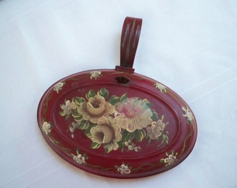 Vintage Collectible Tobacciana Hand Painted Floral  Silent Butler 1960's Smoking Accessory