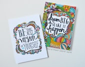 Graduation Gift - Dream Big, Make It Happen & Be the Best Version of Yourself 5 x 7 art print set, Illustration, Inspiring Quote, Motivation
