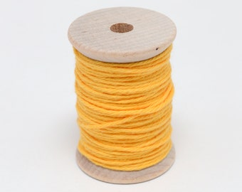 Baker's Twine - 20 Yards - Bright Yellow - Marigold - 4 Ply Twine on Wooden Spool