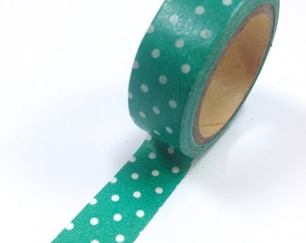 Washi Tape - 15mm - Polka Dots on Jade - Deco Paper Tape No. 883