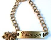 Altered Art Lion Sun Courage Antique Brass Toggle Charm ID Bracelet OOAK