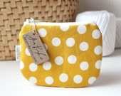 Mustard Yellow and White Polka Dot Gift Card Credit Card Holder Zipper Pouch Coin Purse Wallet