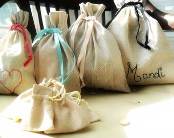 Cotton linen bags / Personalized / Customized Color & ribbon /  Hand stitched  / party favors / 2nd anniversary  /  Bridesmaids / showers