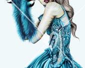"Original Drawing entitled Beatrix in Blue - Print 17"" X 11"""