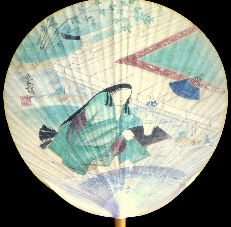Japanese paper paddle fan uchiwa vintage fan japanese fan hand fan rigid fan - Japanese paddle fan ...