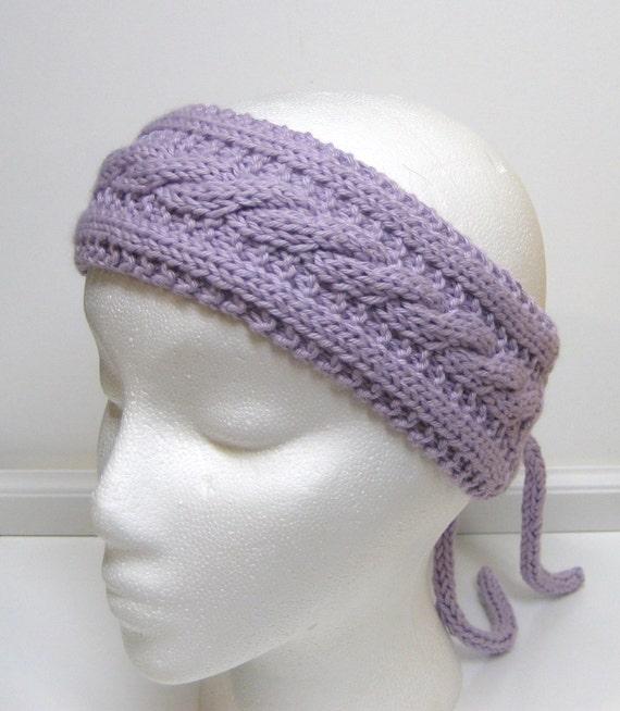 Purple Headband Head Band Hand Knit Turband Style Hair Accessory Ear Warmers Vintage Inspired
