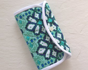 Crochet Hook Case - navy blue, mint green,  turquoise, quilted cotton carrying case, tri fold hook storage