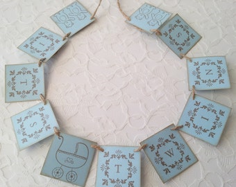 Its Twins Carriage and Bear Mini Banner Baby Shower Party Decoration Bunting Garland Photo Prop