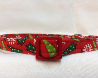 Christmas Trees Cat Collar Red Green