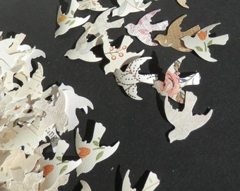 Romantic Bird Confetti - Recycled wallpaper - neutral colors - 500 pieces