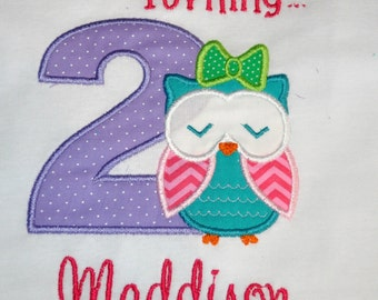 Birthday Girl Outfit - Monogrammed/Personalized 2nd Birthday Look Whoo's Turning... Owl Appliqued T-shirt, Sizes 18 month - 3T