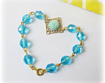SALE Aquamarine Bracelet Blue Aqua Flower Beaded Jewellery. Gold Jewelry dspdavey. Two Cheeky Monkeys Teens For Her. Handmade Botanical