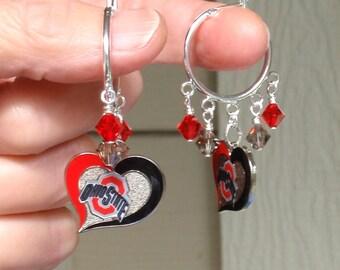 Ohio State Earrings, OSU Buckeyes Bling, Scarlet and Gray Crystal Hoop College Earrings, College Football Jewelry, College Basketball