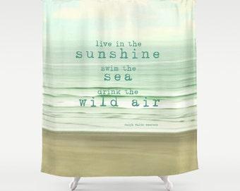 Ocean Shower Curtain, typography, quote, beach, aqua home decor,turquoise,original photograph,bathroom,bath