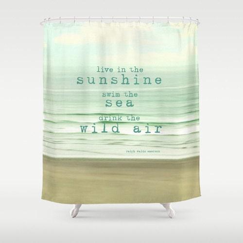 Ocean Shower Curtain Typography Quote Beach Aqua Home