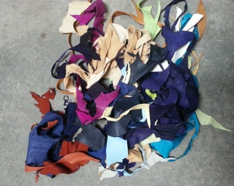 One  Bag of Assorted Leather Skirting Remnants - Mixed Colors - Stock No. 2-EDGE
