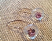 Pink Tourmaline filled Crystal quartz earrings