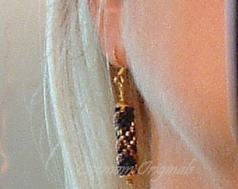 Bead Crochet Earrings Midnight Stars in midnight blue and carnival copper Seed Beaded Rope