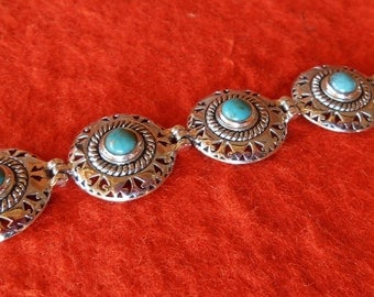 Balinese Chain sterling Silver turquoise Bracelet / silver 925 / free size  / Bali jewelry / summer design