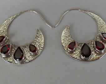 Sterling Silver Garnet gemstones Earrings / Bali handmade jewelry /  silver 925 / 1.5 inch