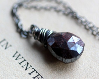Winter Woods Brown Scapolite Gemstone Necklace on Sterling Silver Fall Autumn Fashion - Amber Red and Brown Necklace