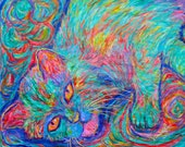 Twine Dreams Art 16x20 Abstract Cat Acrylic Painting by Award Winning Artist Kendall Kessler
