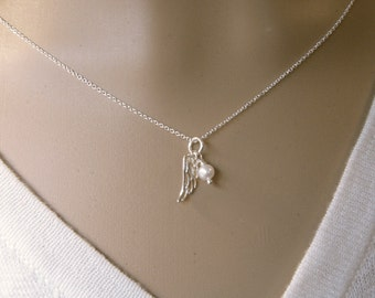 Dainty Angel wing necklace - Condolence gift - Silver wing birthstone necklace - Photo NOT actual size