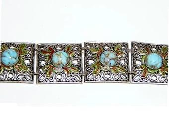 Fabulous Enameled Filigree Setting Glass Cabochon  c1920-30's Long Bracelet
