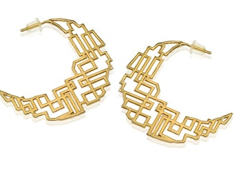 Geometric Hoop Earrings, 14K Wedding Earrings, Hoop Wedding Earrings, Bridal Jewelry, Geometric Gold Jewelry