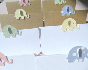 Baby Shower Place Cards - Baby Shower Decor - Elephant Placecards - Baby Shower Table Cards - Kraft Place Cards - Shower Decor  BSPC