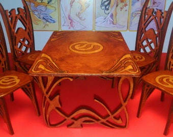 Art Nouveau dining table with 4 chairs, 1/12 miniature for dollhouses