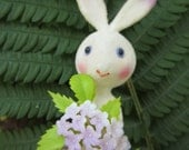 Vintage Flocked Bunny Holding Lilacs on Wire Pick
