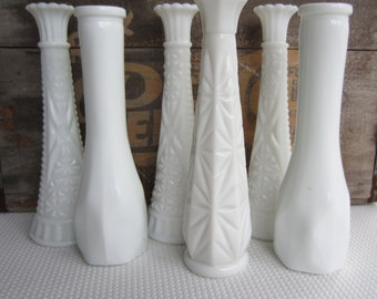 Vintage Set of 6 Tall Milk Glass Vases White Wedding Garden Table Setting