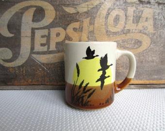Vintage Silhouette Ducks Sunrise Mug Korea