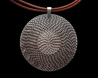 925 Sterling Silver Black Sun Pendant with italian brown leather necklace