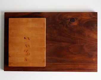Maple End Grain Board with Walnut Serving tray