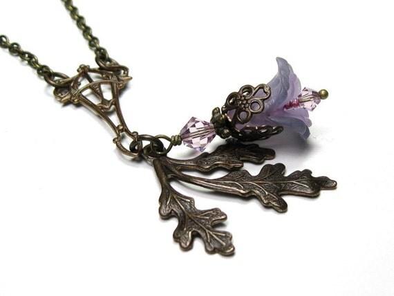 Flower Necklace, Vintaj Brass, Swarovski Crystal, Vintage Style Jewelry, Lucite, Lavender, Violet, Lilac, Pink, Teal, Woodland, Oak Frond