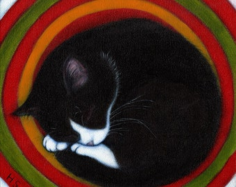 Harry on Target.  Archival 8.5x11 tuxedo cat print