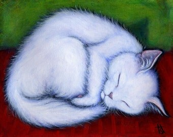 Little White Cat.  8 x 10 print