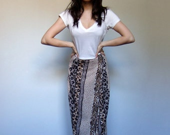 90s Skirt Clothing Leopard Print Wrap Skirt Beachwear Long Animal Print Maxi - Small to Medium S M