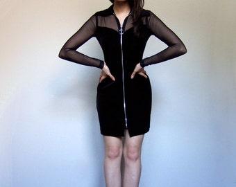 90s Mini Dress Velvet Black Zip Up Fredericks of Hollywood Sheer Mesh Dress - Small S