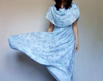 Pale Blue Maxi Dress Vintage Sheer Pleated Summer Dress Floral Floor Length Long Dress - Medium M